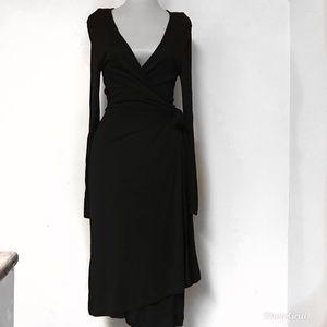 BANANA REPUBLIC Black Wrap Dress Size Medium